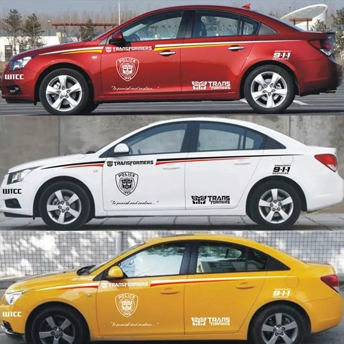 Car sticker design sample - Car Modification Waist Body Paste Modified Us Version 911 Police Transformers Hornet Waist Body Garland Decorative