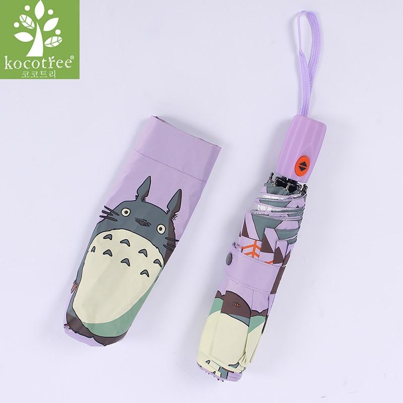 Kocotree Cartoon Totoro Umbrella Rain Children Windproof Ultralight Sun Rain Automatic Folding Umbrellas Women Umbrellas Parasol