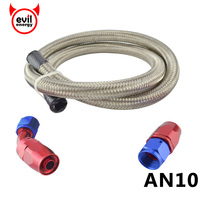 AN10 Stainless Steel 1 Meter Braided Fuel Hose AN10 Straight Hose End 45 Degree Swivel Fitting