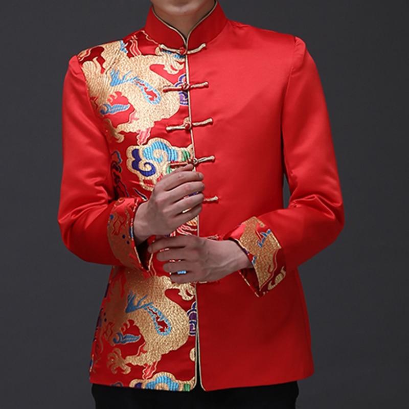 Dragon Pattern Jacquard Mens Red Suit Jacket Mandarin Collar Traditional Chinese Men Satin Wedding Jacket Frog Closure