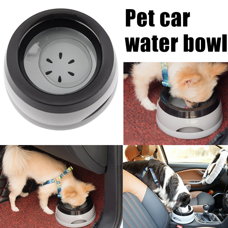 Hot Pet Water Bowl Not Wet Mouth Spill-proof Anti-slip Car Carrier Bowl for Cats Dogs FQ-ing