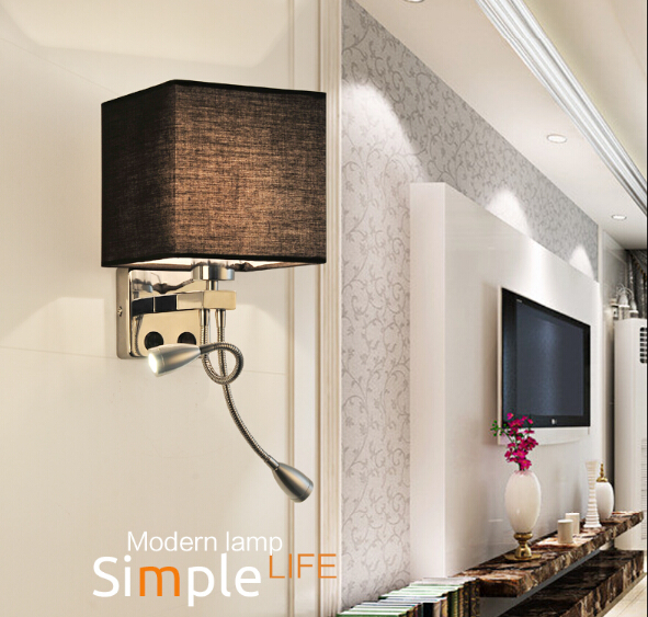 Modern Creative Fabric LED Wall Lamp Band Switch,Stainless Steel LED Reading Light  For Home Lightings Lampara Pared,E27 shadow projection lamp creative 201 essential button type stainless steel led home furnishing decoration