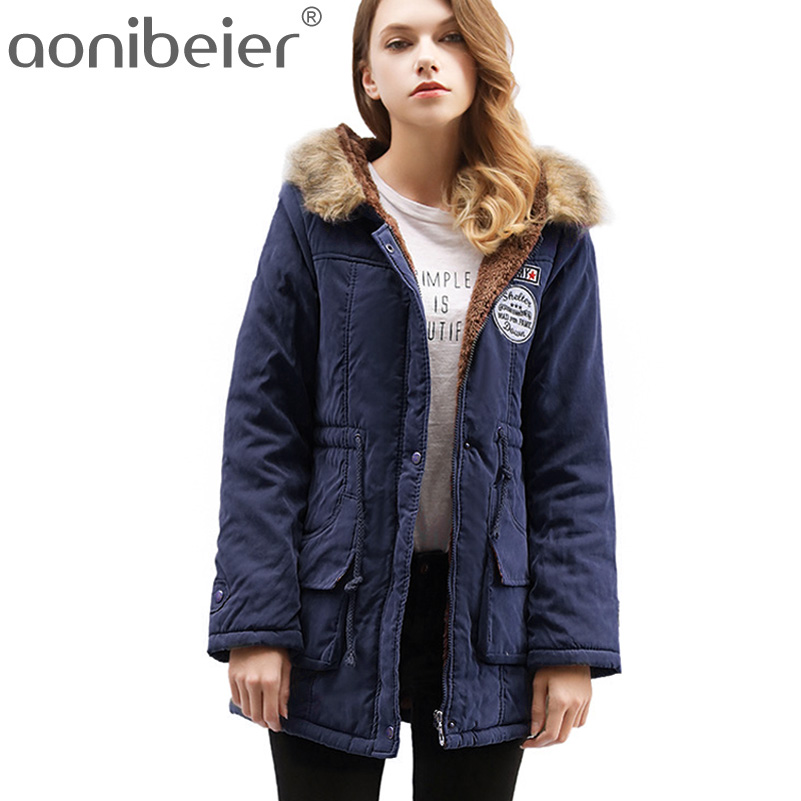 Aonibeier Parkas Women Coats Fashion Autumn Warm Winter Jackets Women Fur Collar Long Parka Plus Size Hoodies Cotton Outwear