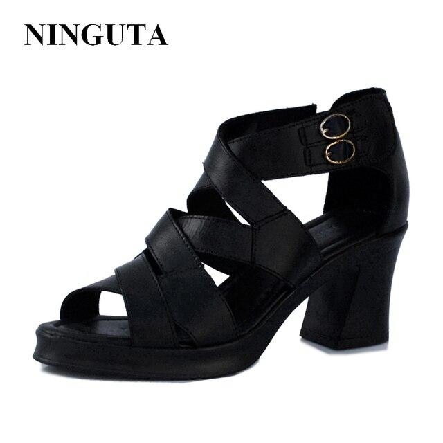 Натуральная Кожа высокие каблуки сандалии гладиаторов женские летние женская обувь
