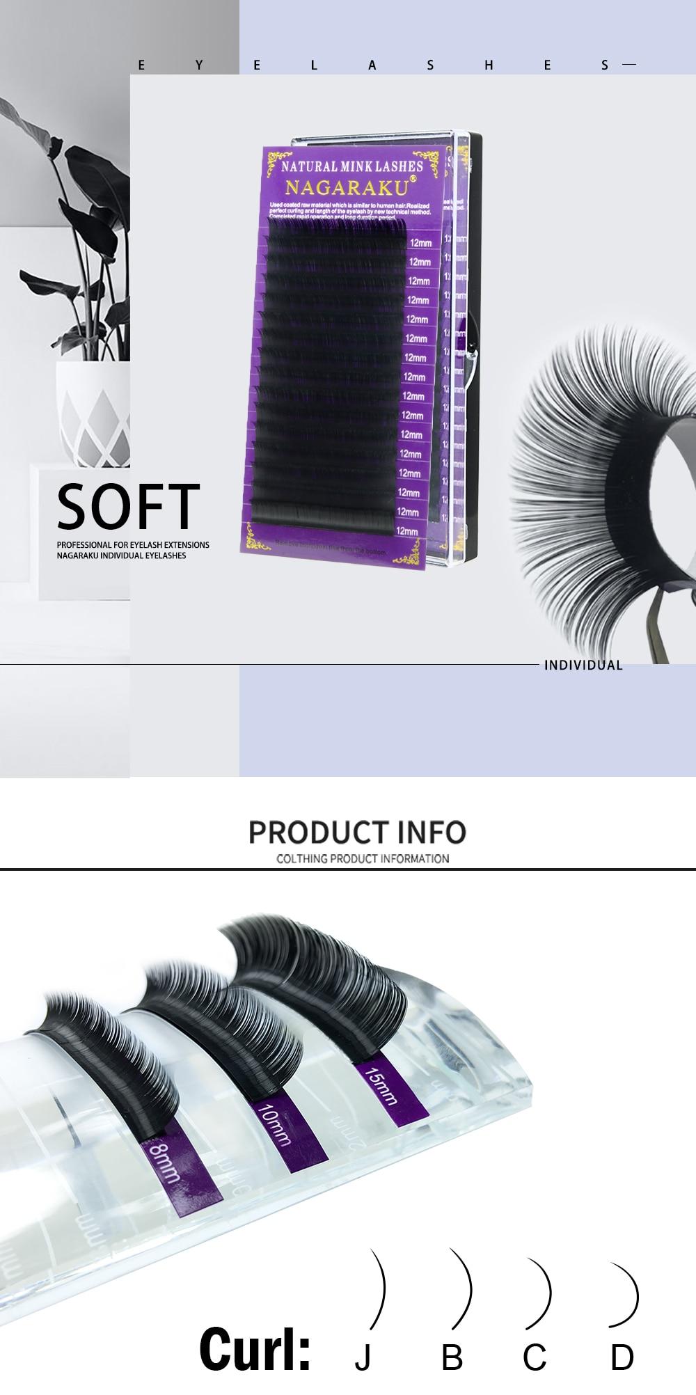 c6a30eb4d86 NAGARAKU 5 cases/lot High quality mink eyelash extension individual ...