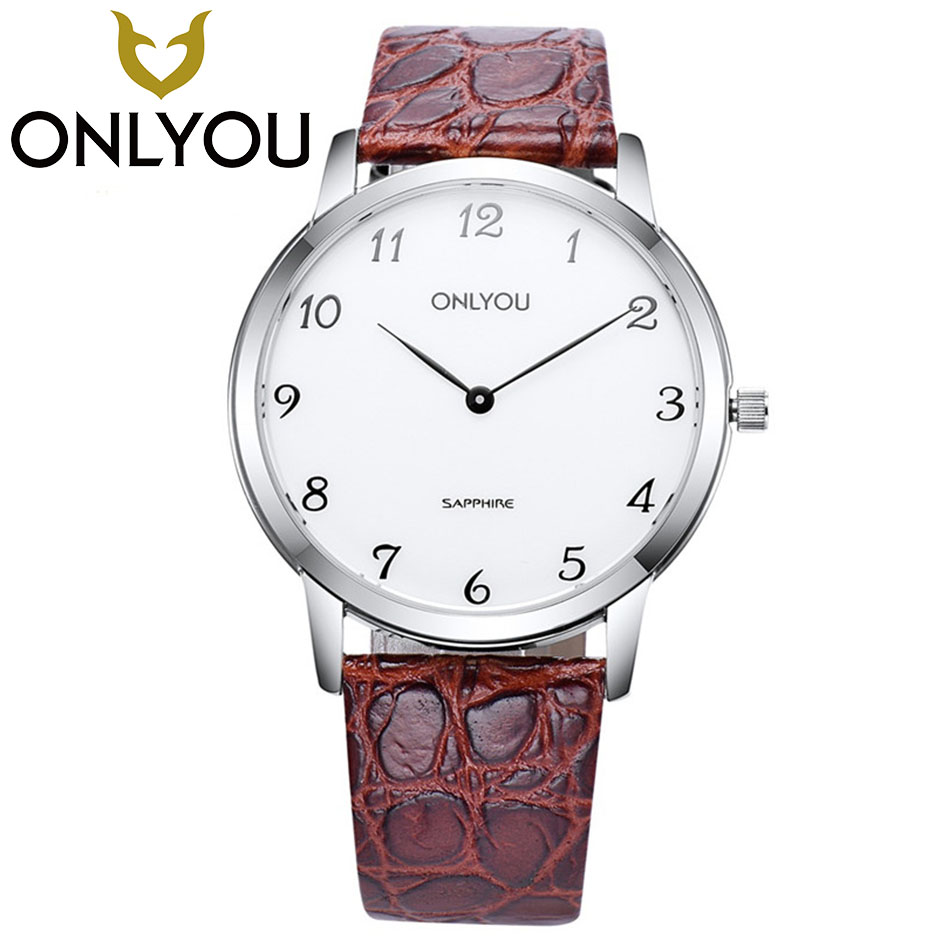 ONLYOU Fashion Casual Lovers Watch Luxury High Quality Crocodile Pattern Leather Men Watches Waterproof Quartz Wrist Watches все цены