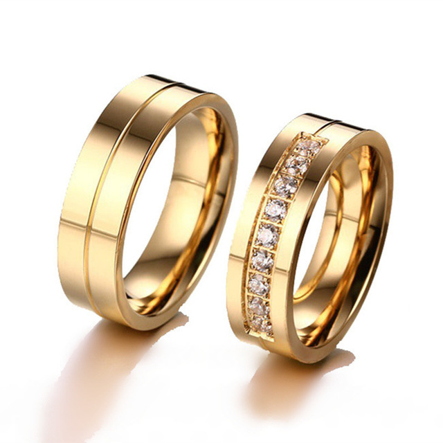 H:HYDE Trendy Lovers Wedding Bands Rings for Women Men Love Gold-color CZ Stone Stainless Steel Promise Jewelry size 6-10