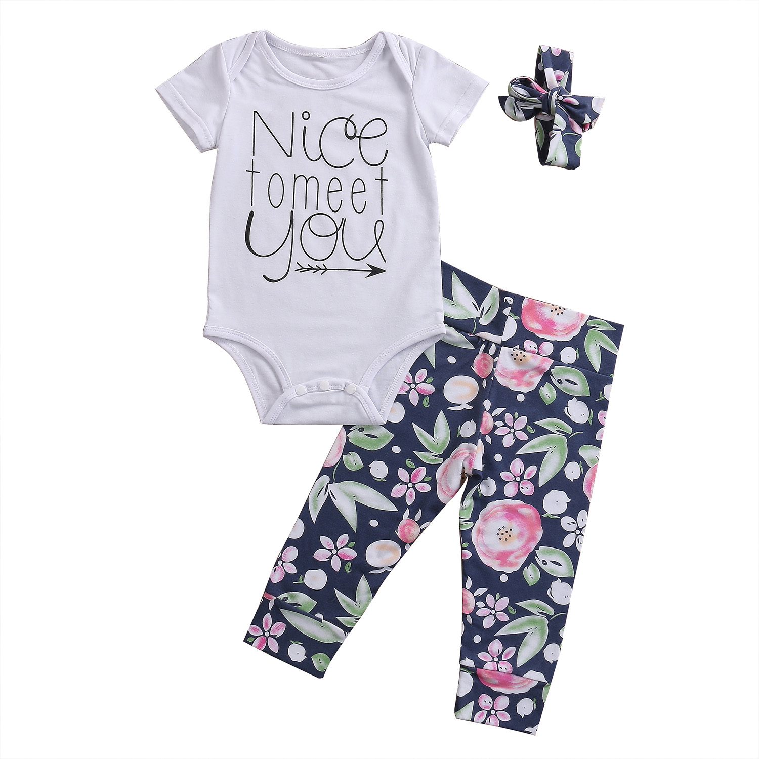 New Style Cute Newborn Toddler Baby Girls Clothes Summer Short Sleeve Romper Outfits Tops Floral long Pants Baby Clothing Set