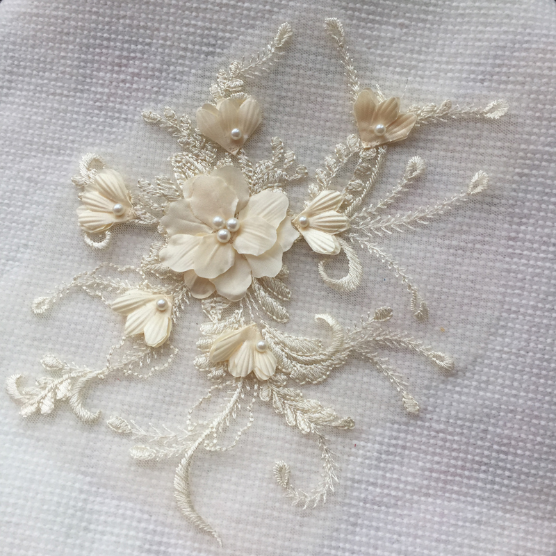 5 Pieces 3D Lace Trim Beaded Bridal Veil Lace Applique Wedding Lace Patch Accessories Dark Yellow Ivory White Red Light Pink