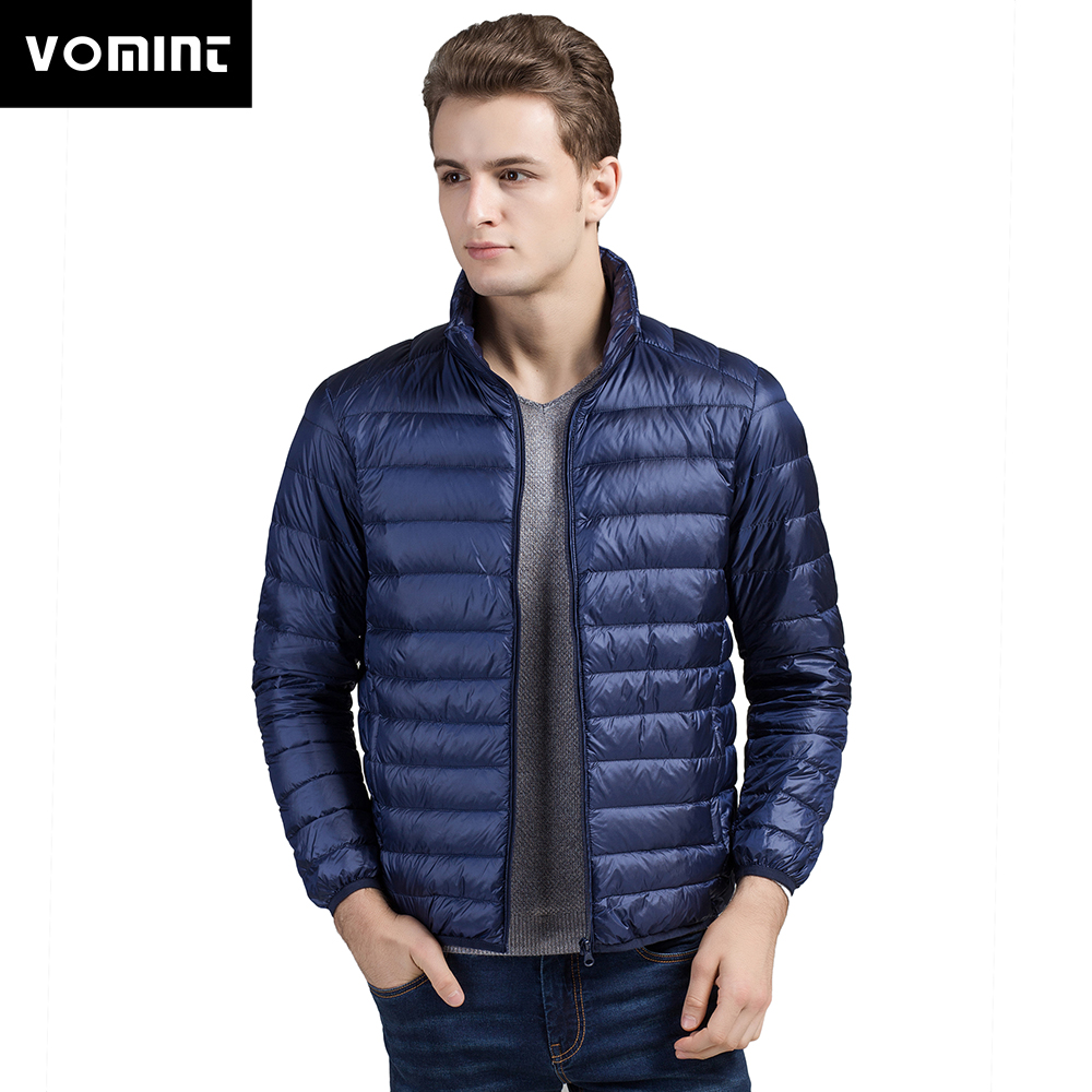 VOMINT New Autumn Winter Men's Duck Down Jacket Ultra Light Thin Plus Size Spring Jackets Men Stand Collar Outerwear Coat M-4XL