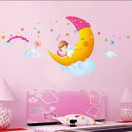 Latest 80 180cm Lovely Moon Star Goodnight Wall Stickers