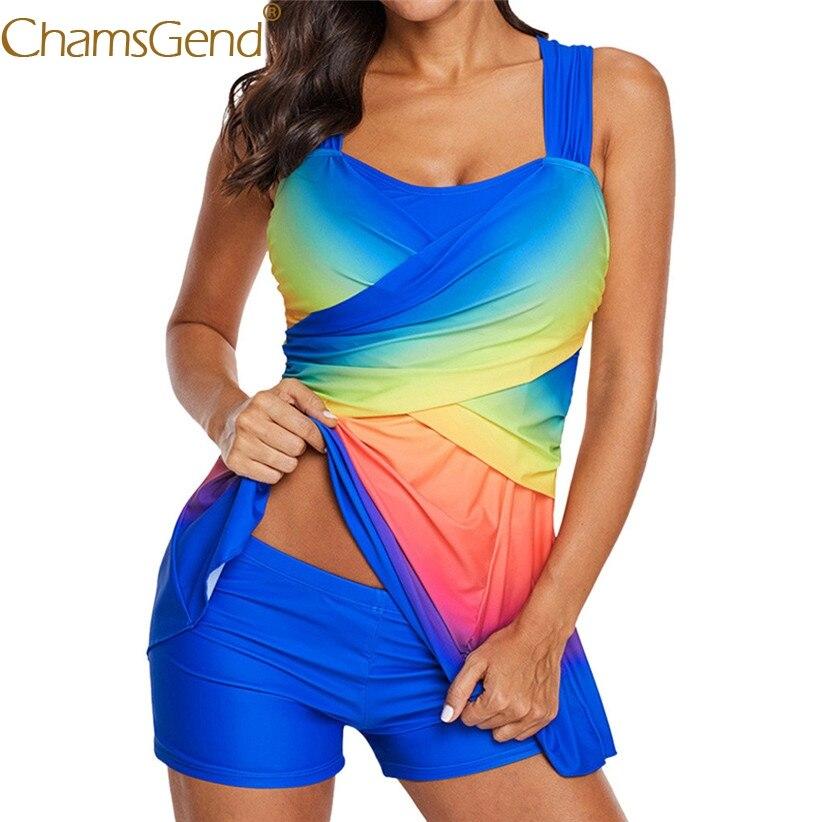 Women Rainbow Tankini Set Swimdress Plus Size High Waist Swimsuits Sexy Push Up Paded Swimwear Swimsuit Quick Dry Swim Suit 906