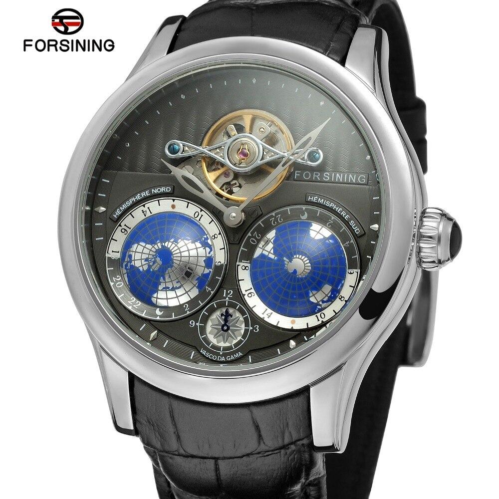 FORSINING hommes marque de luxe mouvement automatique boîte en acier inoxydable carte du monde cadran montre-bracelet Design de mode montre FSG9413M3 - 4