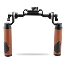 CAMVATE ARRI Стиль розетка рукоятки (кожа) и 15 мм Род зажим Railblock для DSLR ручкой плеча Рог