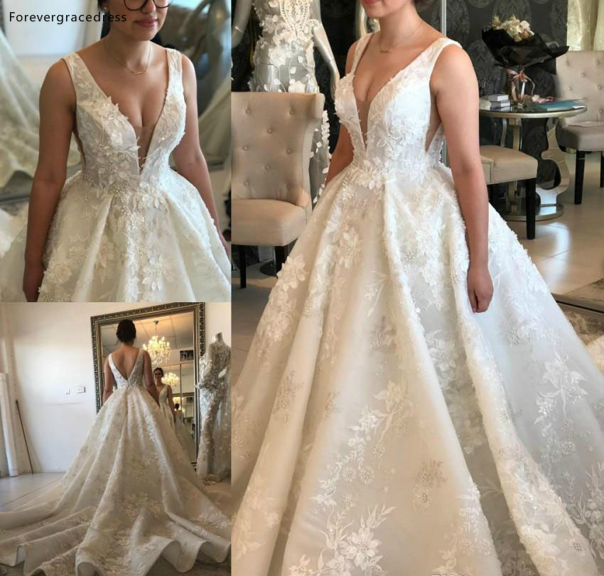 High Quality New Arrival Long Wedding Dress A Line Deep V Neck Lace Flowers Country Summer Garden Bridal Gown Custom Made