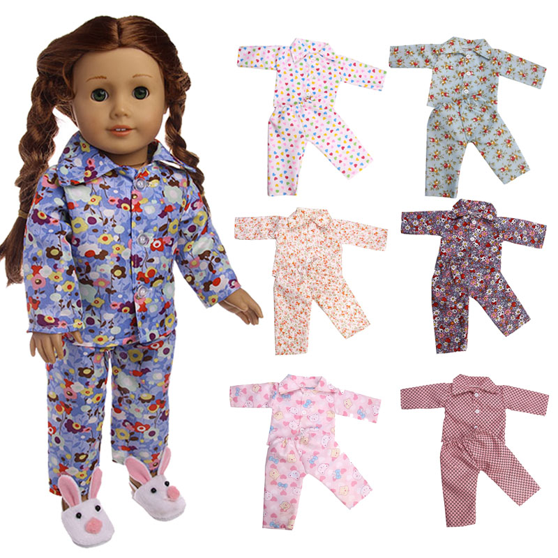 Doll Clothes 9styles Pajamas Fit 18 Inch American Girl Doll&43cm new baby born doll clothes and accessories american girl dolls pajamas doll accessories princess doll clothes fit 18 inches clothes baby birthday christmas gift mg 023