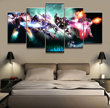 Wall Art Painting Pictures Canvas Printed Anime Modular Poster 5 Panel Gundam Home Decor For Living Room Modern Cuadros Artwork