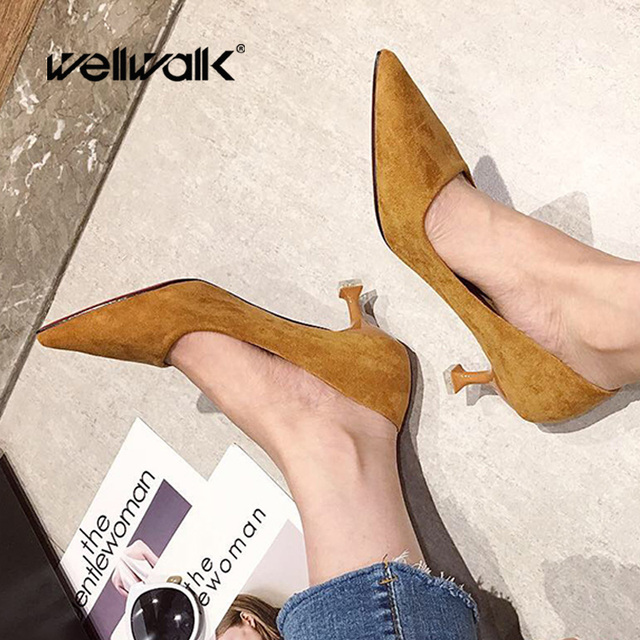Wellwalk Women Pumps Pointed Toe Thin Heel Shoes faux Suede Ladies Summer Solid Color Pumps Sexy Basis Office Lady Party Shoes