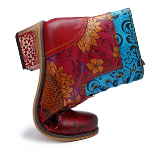 Image 5 - BuonoScarpe Retro Women Zipper Ankle Boots Winter Patchwork Flowers Printed Shoes Vintage Chunky Heel Casual Boots Ethnic Botas