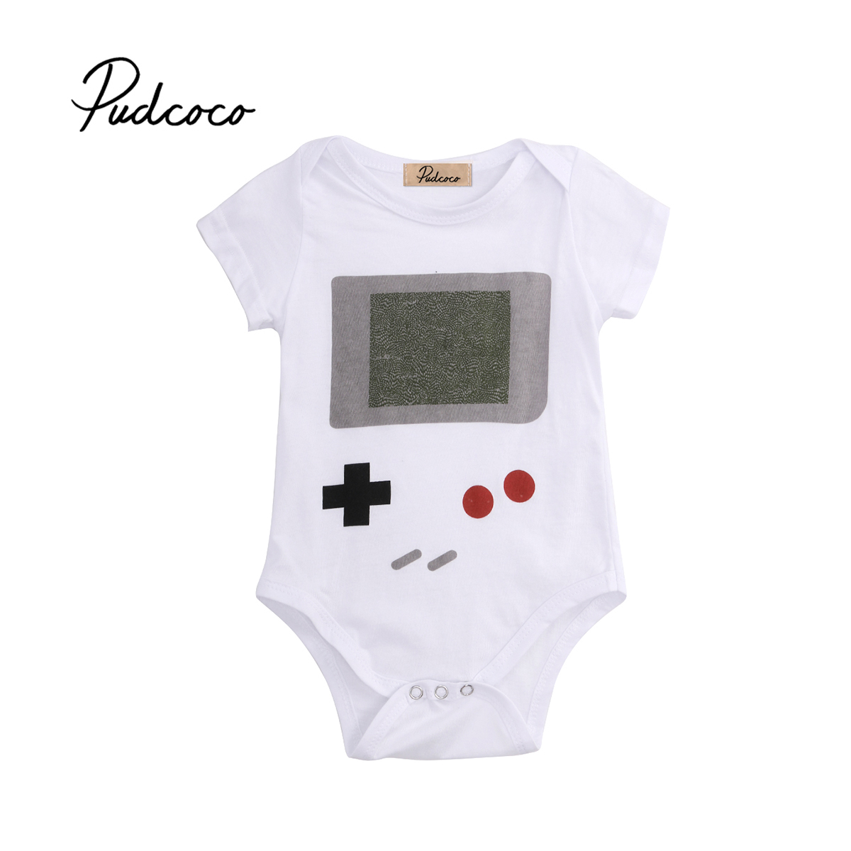 Pudcoco 2018 Child Kid Newborn Baby Girl Boy Cotton Bodysuit Games Print Short Sleeves Sunsuit Jumpsuit Outfit Clothes 0-24M
