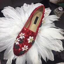 Роскошные женские лоферы ручной работы с цветочной вышивкой; блестящая расшитая блестками ткань; круглый носок; слипоны; повседневная обувь на плоской подошве; tenis feminino