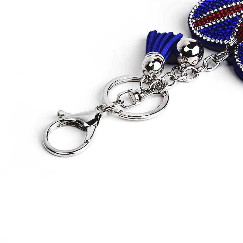 New style key chain pendant with Korean velvet heart UK American flag love pendant ladies bag car keys accessories in Key Chains from Jewelry Accessories