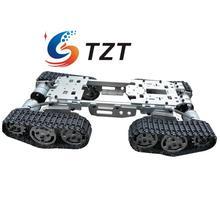 WZY569 Intelligence RC Tank Car Truck Robot Chassis CNC Alloy Body 4 Plastic Tracks 4 Motors