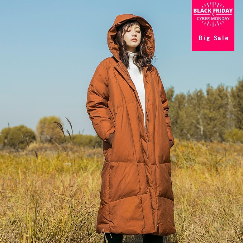 High Quality Winter New Collection retro style Hooded Long   Down     Coat   Female Winter Warm Thick   Down   Jacket wq654 factory outlet