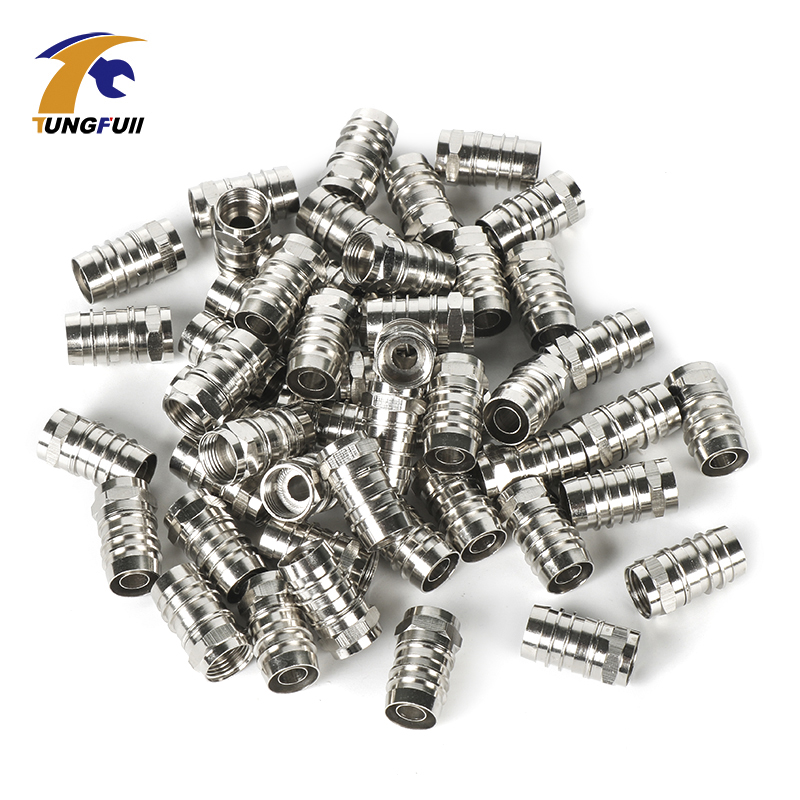 50pcs Of RG6 Type F Male Coax Crimp On Connector RF/Video Signal Plugs Brass Materials WEATHERPROOF CONNECTOR Terminals