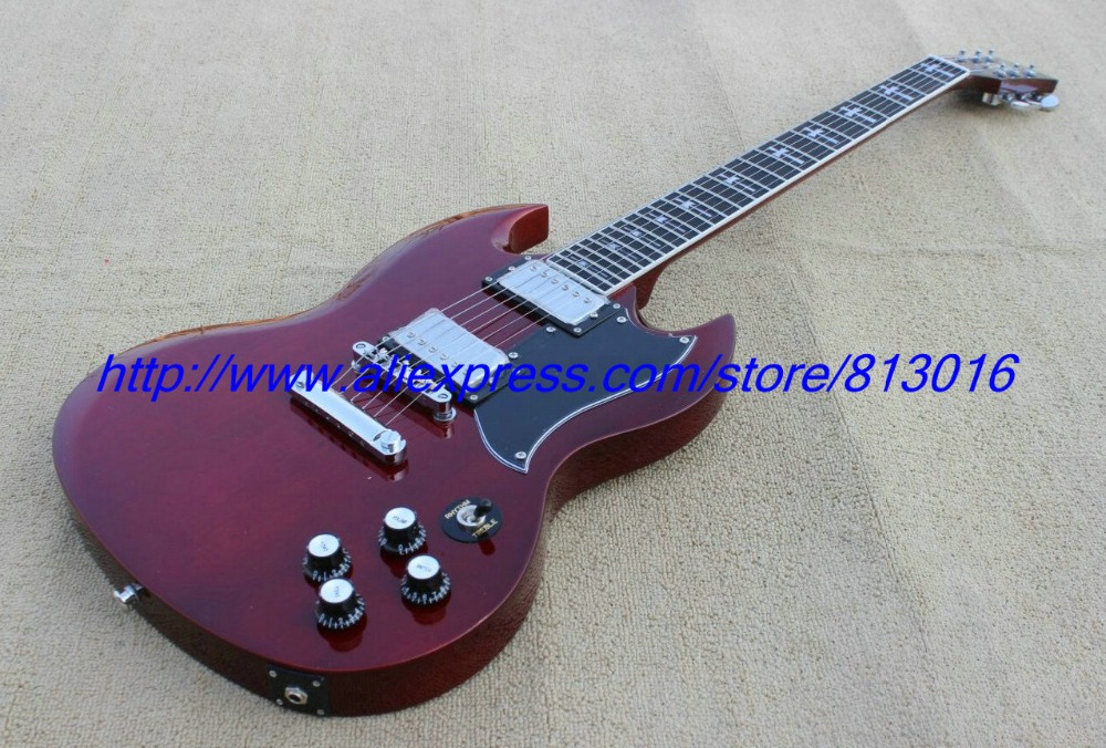 Hot ! customised electric guitar SG model wine red ,ebony fingerboard,crossing inlay ,chrome parts, zakk knobs with pickguard! hot customised electric guitar lp type purple color bird eye maple fingerboard signature inlay on 12th fret gold parts