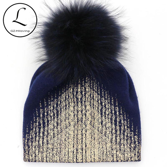GZHILOVINGL 2016 Women Golden Color Metallica Beanie Hat Ladies Knitted Winter Warm Wool Pom Pom Real Raccoon Fur Skullies Hat