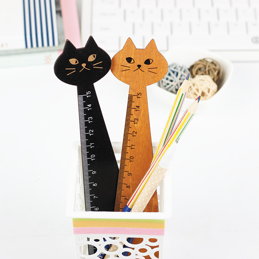 1PCS Creative Wood Straight Ruler Black Yellow Lovely Cat Shape Ruler Gift For Kids Student Stationery Office School Supplies