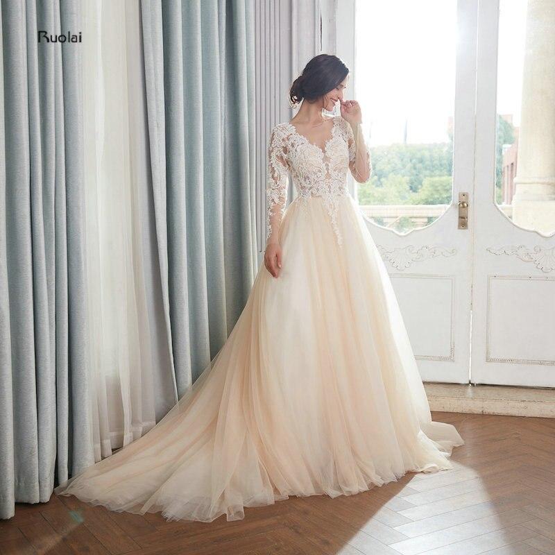 Vestido de noiva lumière Champagne robe de bal robe de mariée royale 2018 Long Train Appliques Vintage robe de mariée robes de mariée