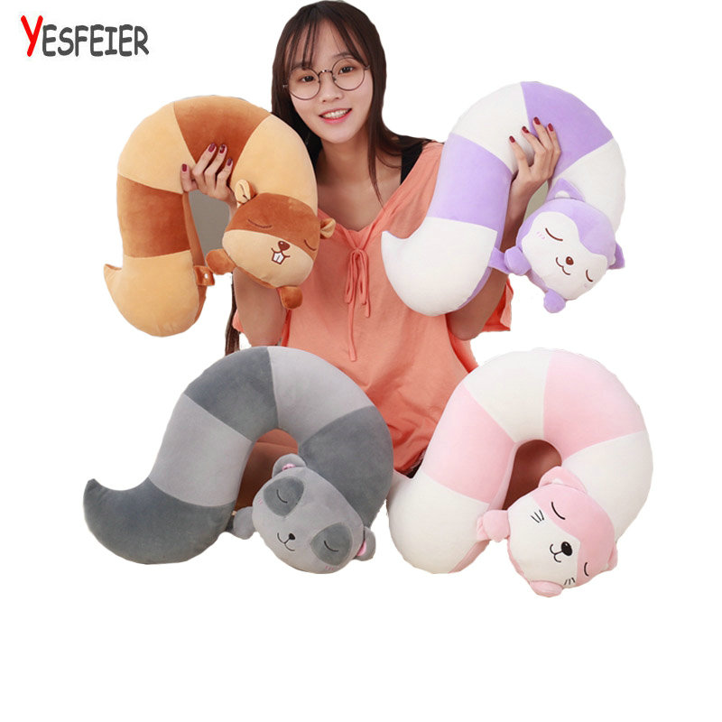 42cm super cute plush toys fox/squirrel/cat/raccoon animal tail  U pillow home decoration nap pillow for children simulation animal large 30x25 cm lovely cat model lifelike white cat with long tail decoration gift t474
