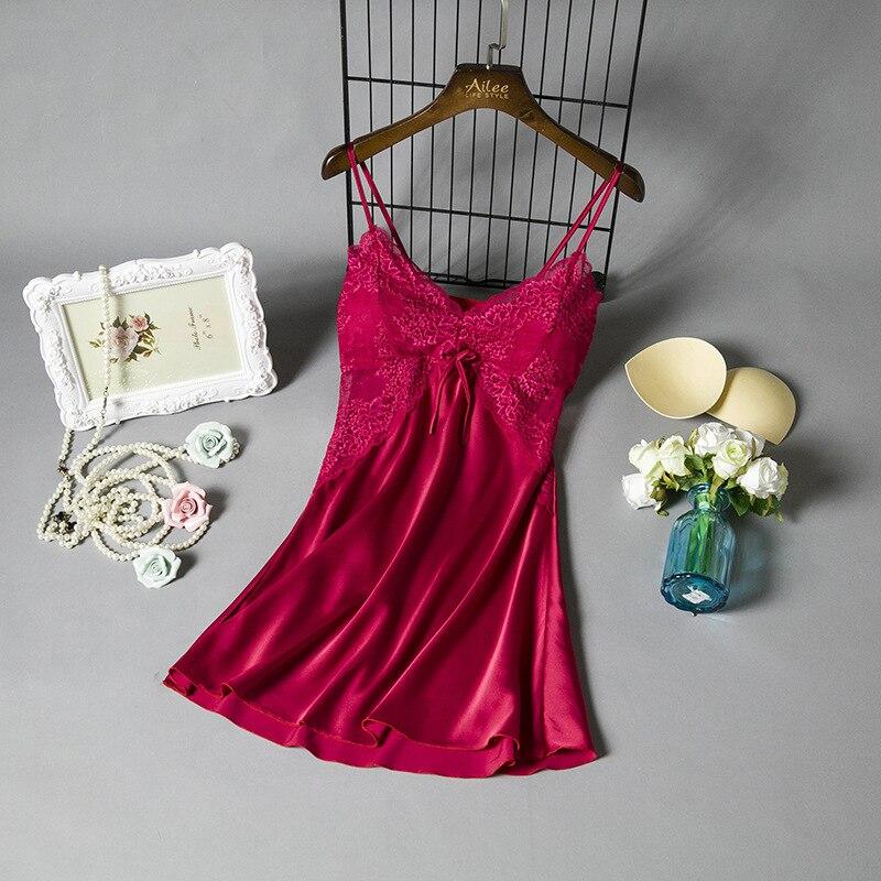 2019 Women Sleep Lounge Sleepwear With Chest Pads Satin Sexy Ladies   Nightgowns   Silk Night Dress Elegant Lace   Sleepshirts