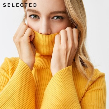 SELECTED new female pure color collar leisure speaker sleeve knitted sweater S|418425519 Чокер