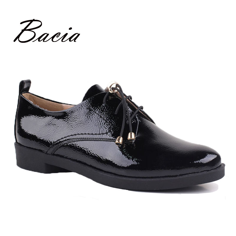 Bacia Black Shoes Women Handmade Genuine Leather Lace-up zapatos mujer Casual Full Season Shoes Low Heel Round Toe Flats VB048 foreada genuine leather shoes women flats round toe lace up oxfords shoes real leather casual boat shoes brown pink size 34 40