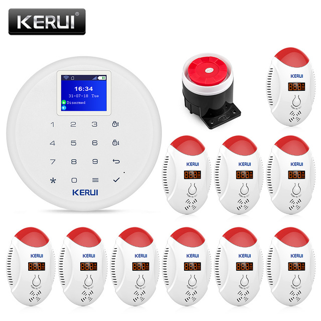 Best Offers KERUI Wireless W17 WiFi GSM Home Security Alarm System CO Detector Alarm Kit With Carbon Monoxide Gas Sensor Leak Detector