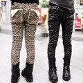 Envío gratis Invierno nueva ropa para niños girls pantalones AB versión leopardo panty pantalones de respaldo