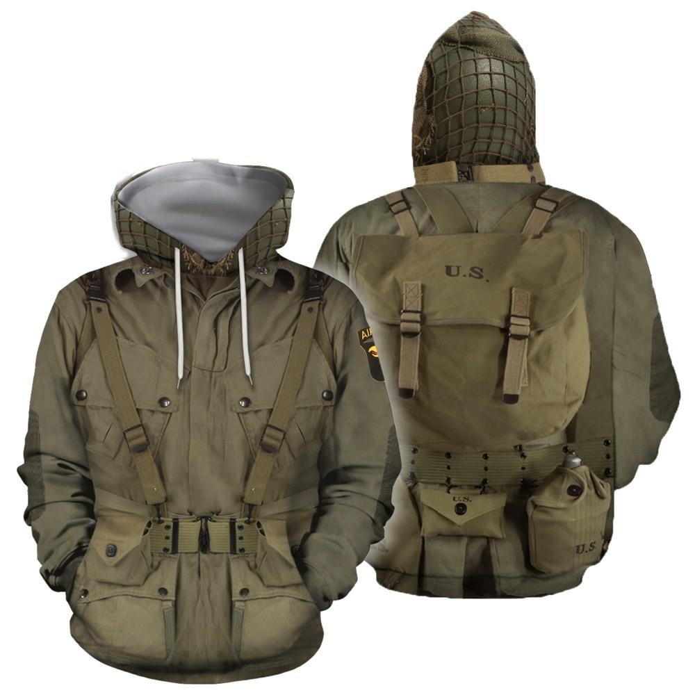 New 3D Paratroopers Uniform Suite Hoodie Sweatshirt Men Women Hoodies Casual Sweatshirt Cute Cosplay Soldier Suit Hoodies SH001