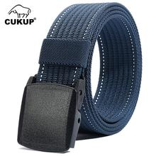 CUKUP Unisex High Quality Casual Design Outdoor Striped Nylon Waist Belts PC Buckle Male Accessories Belt Men 38mm Width CBCK135