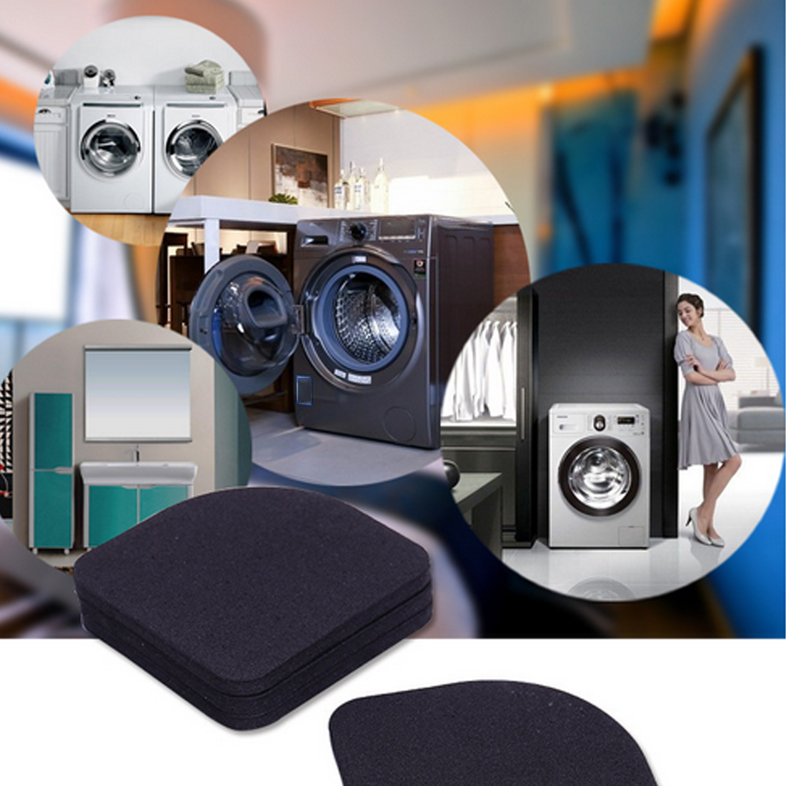 4pcs/set Black Multifunctional Washing Machine Shock Pads Non-slip Mats Refrigerator Sho ...