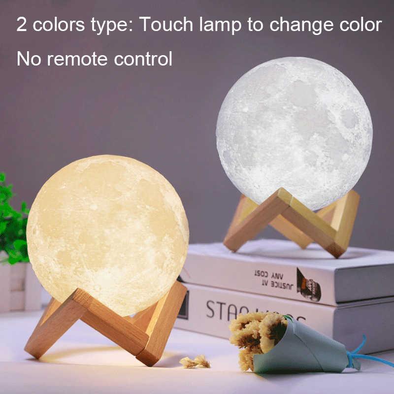 3D Лунная лампа, светодиодная сенсорная настольная лампа для спальни, гостиной, прикроватная лампа, рождественский подарок, Перезаряжаемый USB, 16 цветов, пульт дистанционного управления
