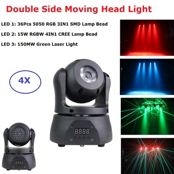 Lyre LED Moving Head Double Side 15W RGBW + 36Pcs SMD 5050 Light With 150MW Laser Projector Beam Party