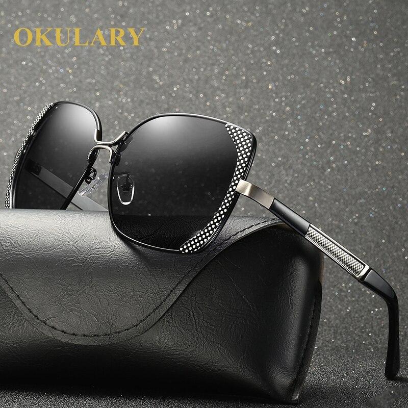 2018 Мода поляризованные Для женщин солнцезащитные очки черный/коричневый Цвет UV400 металлический каркас бесплатная доставка