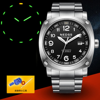 Top Brand Luxury NEDSS Super Bright Tritium Gas Luminous Mens Sapphire Men Business Titanium 316L Automatic