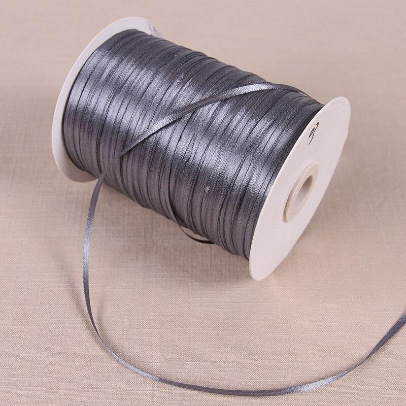 3 мм атласные ленты 22 м/лот DIY ручной работы товары для украшения свадьбы, дня рождения Подарочная упаковка белые ленты - Цвет: Темно-серый