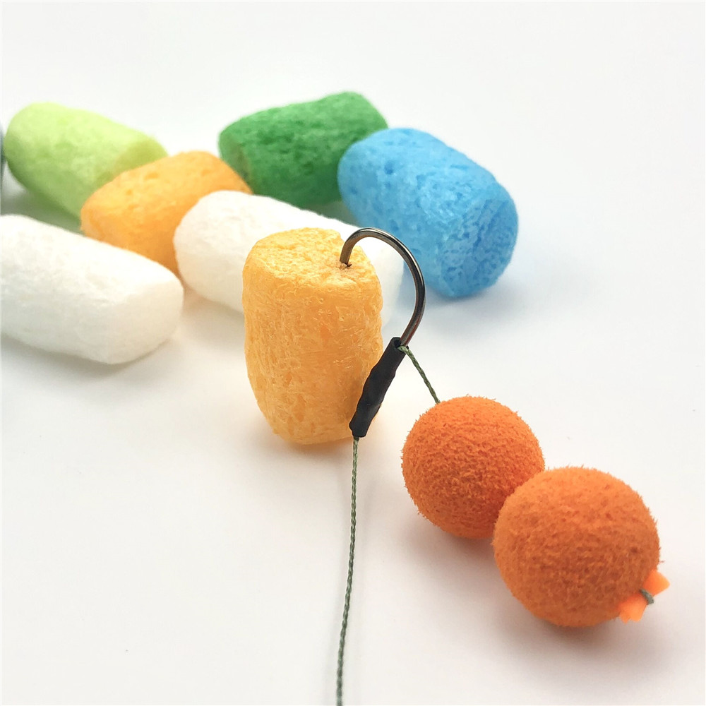 around 50pcs  Carp Fishing PVA Nuggets  Souluble zig Rig Foam Coloured Water Soluble Pop Up floating corn