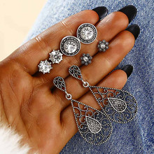 4 Pairs/Set Antique Silver Color Stud Earrings Set Bohemian Vintage Moon Sun For Women Birthday Gift Ear Jewelry EZ5