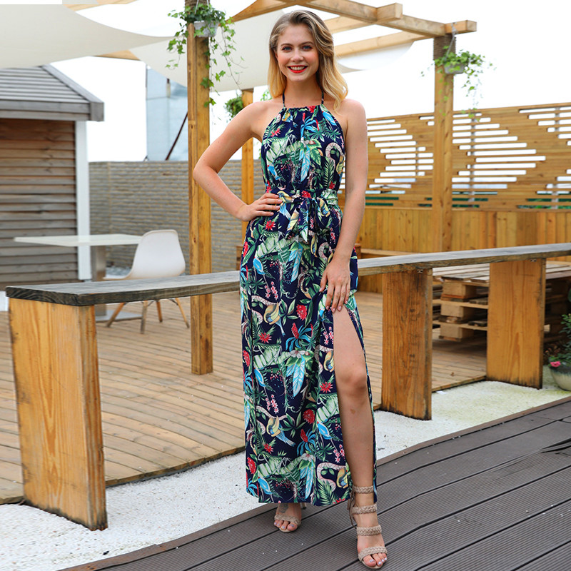 Strapless Summer Dress Women 2018 Sexy Backless Maxi Party Dress Vintage Slim Asymmetrical Print Halter Desses Female vestidos